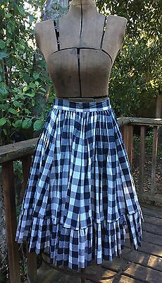 Vintage black and white check skirt rockabilly swing 50s square dance xs