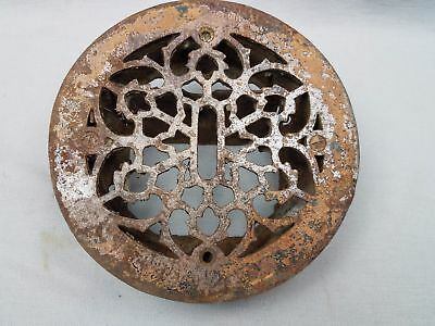 "Antique Cast Iron Round Floor Heat Grate Register Old Gothic Vtg 7.25"" AS IS"