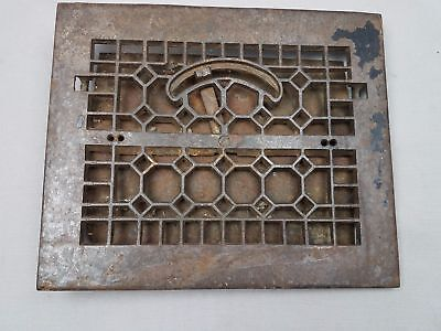 "Antique Gothic Cast Iron RECTANGLE Floor Heat Grate Register 11.5x10"" fits 8x10"""