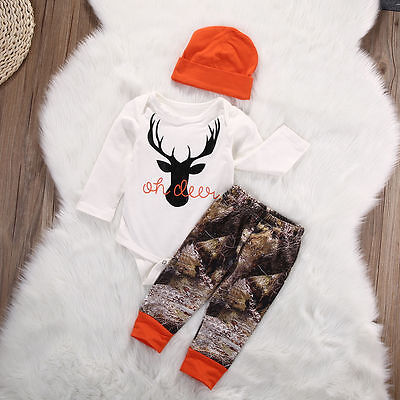US Stock Newborn Baby Boy Girl Top Romper Cotton Pants 3Pcs Outfits Set Clothes