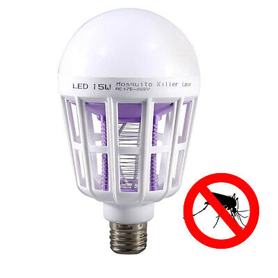 E27 15W 24LED 2In1 Mosquito Insect Fly Bug Killer Lamp Nightlight Globe Bulb