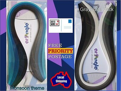 200 x 3mm Quilling paper strips. Monsoon & Grayscale theme COMBO pack supplies