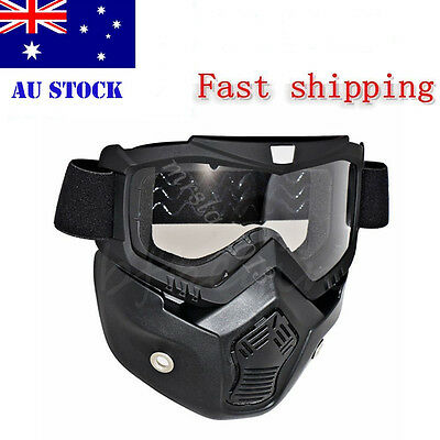 AU Shield Goggles Modular Motorcycle Riding Helmet Open Face Mask Detachable