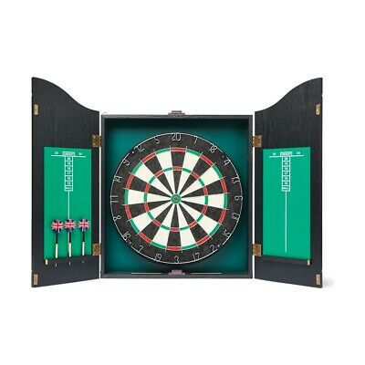 "NEW 18"" Dartboard 2 Sides Printing Flocked & Wooden Cabinet +6 Darts  (#1815)"