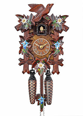 Adolf Herr Quartz Cuckoo Clock - Alpine Flowers AH 40/8 QM NEW