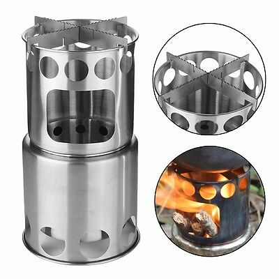 Stainless Steel Picnic Camping Backpacking Cooking Wood Burning Stove Outdoor