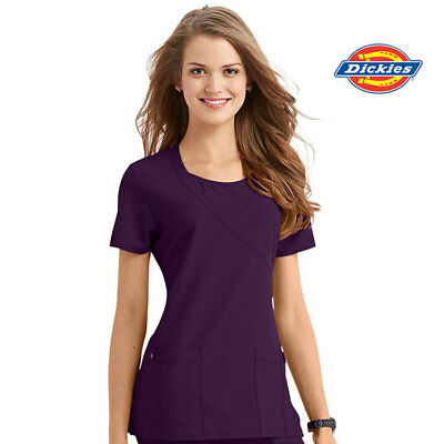 82814 Dickies Womens Stretch Wrap Scrub Top Nurse Nursing Medical Uniform