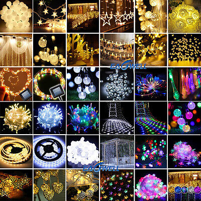 10-600 LED Electric/Solar/Battery Powered Fairy String Lights Xmas Wedding Party