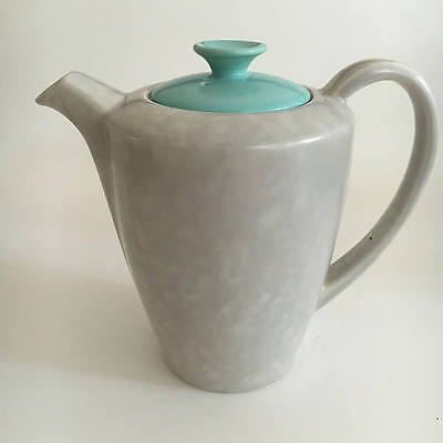 Poole Pottery England Twintone Ice Green and Seagull Coffee Pot Teapot c1970