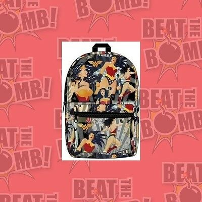 Dc Comics Wonder Woman All Over Print Backpack  - BRAND NEW