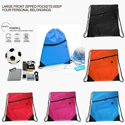 Universal Drawstring Bag Schoolbag Backpack PE Gym Sports Swim Bag With Zipper S