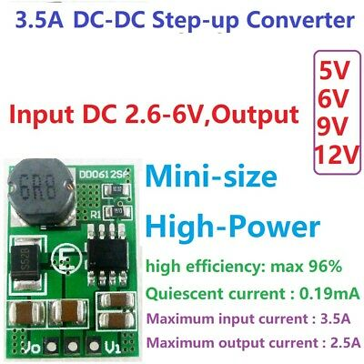 3.5A DC-DC Step-up Boost Voltage Converter Module 3V 3.3V 3.7V to 5V 6V 9V 12V