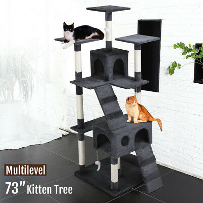 """73"""" Cat Tree Scratcher Play House Condo Furniture Toy Bed Post Pet House Gray"""