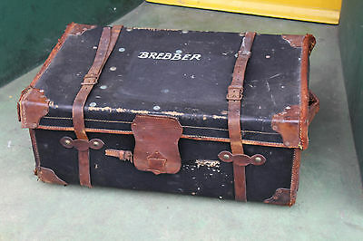 Large Vintage Trunk 1920s 30s Leather Strapped steam antique retro storage car