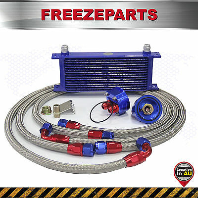 15 Row AN10 Oil Cooler +3/4*16 UNF & M20*1.5 Filter Relocation Adapter Hose Kit
