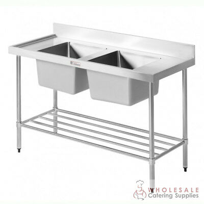 Double Sink with Pot Rail & Splashback 2100x600x900mm Simply Stainless NEW
