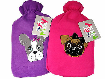 Dog Pug French Bulldog Cover Hot Water Bottle Pink Purple Warm Cosy Comfort 2 lt