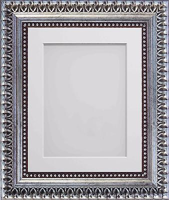 Frame Company Aurelia Range Wooden Ornate Silver Picture Photo Frames with Mount