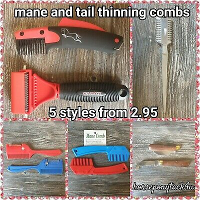 Plastic Thinning Comb in red or blue for pulling thinning horses ponys manes