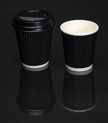 Disposable Coffee Cups and Lids / Black Paper Ripple Wall Hot drink cup with lid