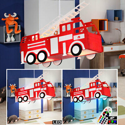 LED hanging lamp RGB remote control fire truck children ceiling light dimmable