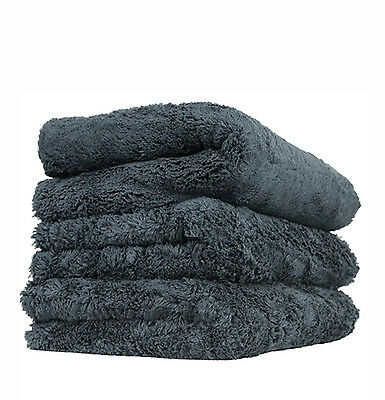 "Chemical Guys Happy Ending Edgeless Microfiber Towel, Black 16"" x 16"" (3 Pack)"