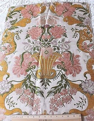Antique 18thC French Silk Brocaded Fabric~ Renaissance Style~Frame