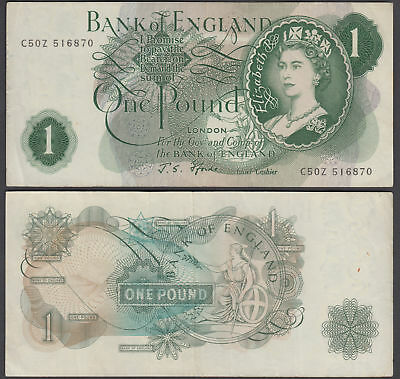Great Britain 1 Pound 1966-70 (VF+) Condition Banknote P-374e QEII
