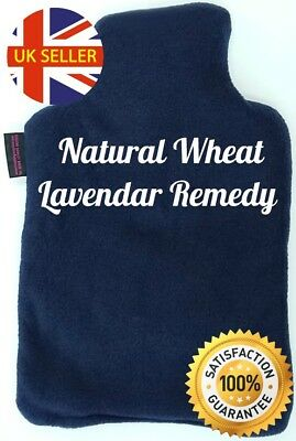 Natural Wheat & Lavender Bottle Microwave Fleece Bag Navy Hot Remedy Pain Relief