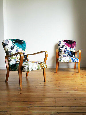 2 x VINTAGE RE-UPHOLSTERED LINDEN CHAIRS GA JENKINS CHIVASSO 1940s retro