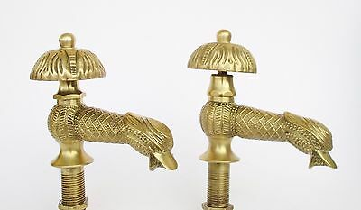 Vintage Brass Cold Hot Pair Of Water Duck Shaped Taps Faucets