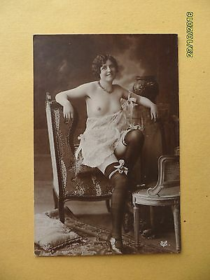Original French 1910's-1920's Postcard Nude Risque Sexy Lady Stockings #97
