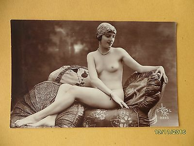 Original 1910's-1920's Postcard Nude Risque Sexy Lady Sat On Couch #135