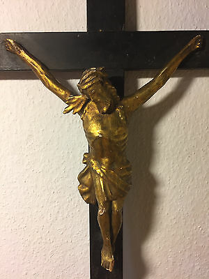 Antique Hand Carved Wood Carving Crucifix Cross Jesus Corpus Statue Golden 18Th