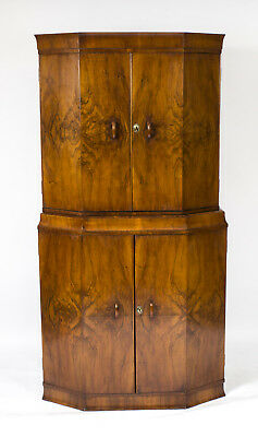 Antique Art Deco Burr Walnut Cocktail Cabinet Dry Bar c.1925