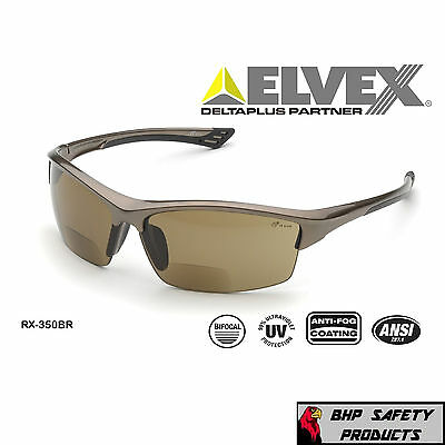 Elvex Sonoma Rx-350Br Bifocal Safety Glasses Brown Anti-Fog Lens Z87+ (1.0-3.0)
