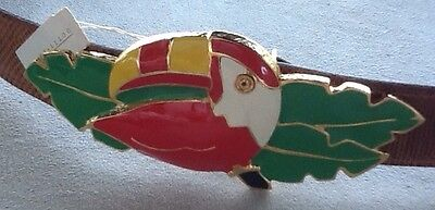Dotty Smith Enameled Toucan Belt Buckle New Old Stock From The  80's with belt