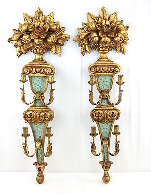 """A Pair of Carved Giltwood Sconces by Masa 1950s Italian Venetian Style 42"""" Large"""