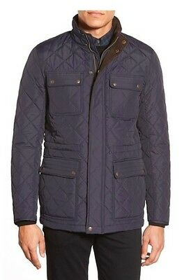New Men's Vince Camuto Corduroy Trim Quilted Jacket Coat Navy Blue Size M XXL