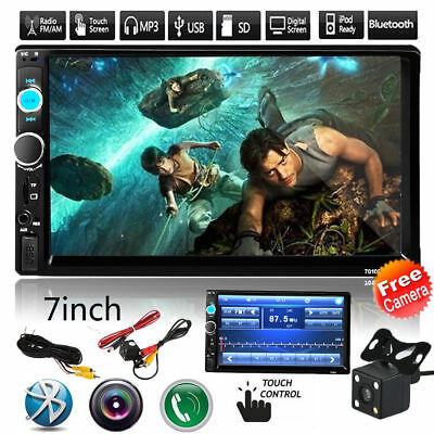 "2Din 7"" Touch Screen FM Radio Bluetooth Car Video Audio Stereo MP5 Player+Camera"