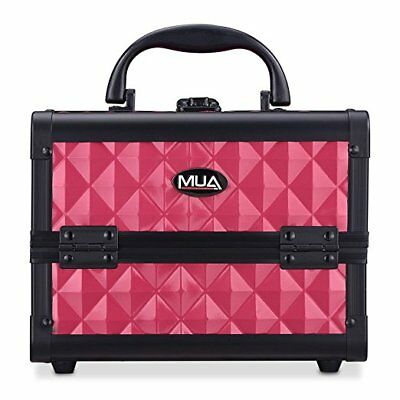 "Mini Makeup Train Case 9.5"" Aluminum Professional Cosmetic Organizer Box Mirror"