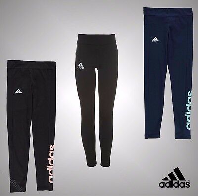New Junior Girls Genuine Adidas Classic Lightweight Linear Tights Size Age 7-13