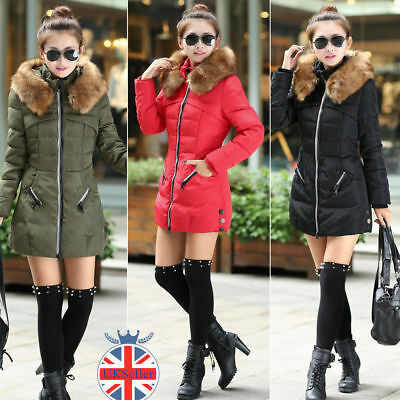 Womens Winter long Cotton Padded Coat Parka Down Jacket Collar Hooded Outwear UK