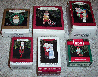 Vintage Hallmark Ornament Lot ~ALL SANTA! Mr & Mrs CLAUS ~Christmas 1992 - 1995