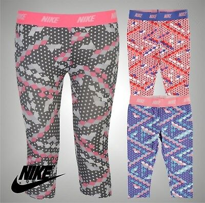 Infant Girls Genuine Nike Stretch Dri Fit Essential Pants Capris Size Age 2-7
