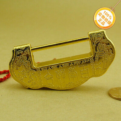 Chinese Vintage Antique Old Style Excellent Brass Carved Retro padlock Lock Key