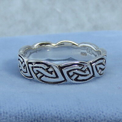 Size 11.5, 12.5 or 13.5 Sterling Silver Celtic Band Ring - 930690 - Fancy-Dancy