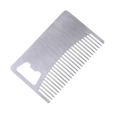 Metal Beard Comb - Bottle Opener - Stainless Steal Pocket Wallet Size, Mens Gift