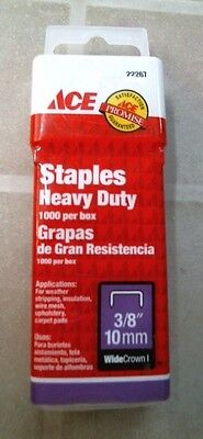 "ACE 22267 Staples Heavy Duty, 1000 box, 3/8"", 10 mm, FREE SHIPPING"