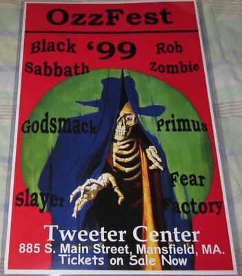 Ozz Fest Black Sabbath/slayer/primus 1999 Replica Concert Poster